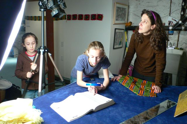 Lynne Sachs and her daughters Maya and Noa create the Abecedarium:NYC Bibliomancy project