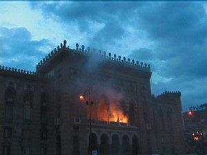 Burning Sarajevo Library
